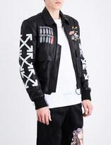 Off-White Aviator leather bomber jacket
