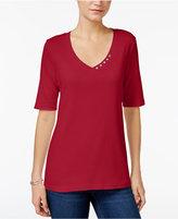 Karen Scott Elbow-Sleeve Top, Only at Macy's