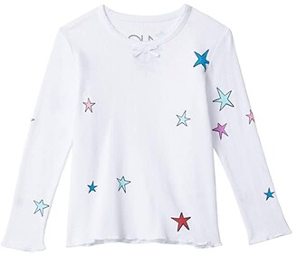 Chaser Thermal Scallop Edge Long Sleeve Tee w/ Bow (Little Kids/Big Kids) (White) Girl's Clothing