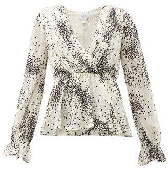 Giambattista Valli Square-print Ruffled Silk Blouse - Womens - Ivory Multi