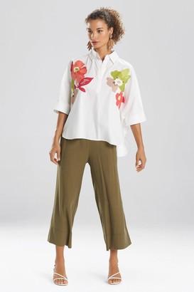 Natori Cotton Poplin Embroidered Collared Top