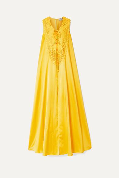 Miguelina Lana Crochet-trimmed Silk And Cotton-blend Maxi Dress - Marigold