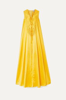 Miguelina Lana Crochet-trimmed Silk And Cotton-blend Maxi Dress - Marigold