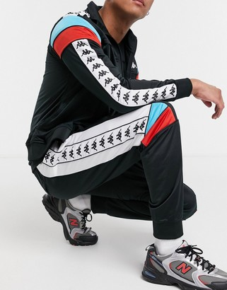 Kappa 222 banda memzz sweatpants with side taping in black