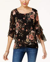 Style&Co. Style & Co Printed Sheer-Sleeve Blouse, Created for Macy's