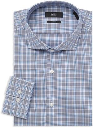 HUGO BOSS Slim-Fit Plaid Dress Shirt