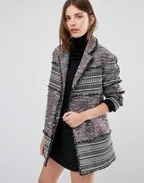 French Connection Pixel Mix Cotton Coat