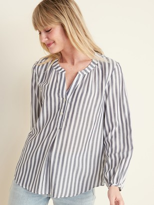 Old Navy Striped Split-Neck Pullover Top for Women