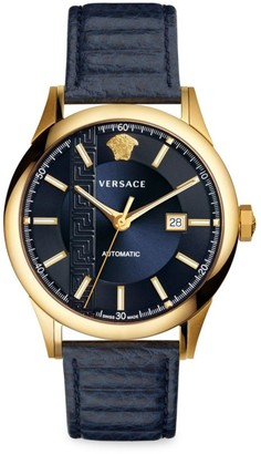 Versace Aiakos Automatic Leather Strap Watch