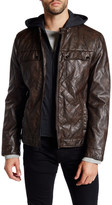 Kenneth Cole New York Hooded Faux Leather Zip Jacket