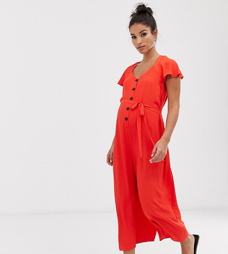 Asos DESIGN Maternity frill sleeve jumpsuit with cut out back-Red