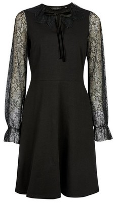 Dorothy Perkins Womens Black Lace Detail Fit And Flare Cotton Blend Dress, Black