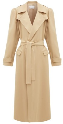 Roche Ryan Puff-sleeved Wool-gabardine Trench Coat - Womens - Beige