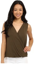 Adrianna Papell Solid Wrap Top