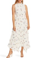 Vince Camuto Romantic Buds Pleated Handkerchief Hem Midi Dress