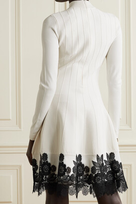 Lela Rose Crocheted Lace-trimmed Ribbed Stretch-knit Dress - Ivory