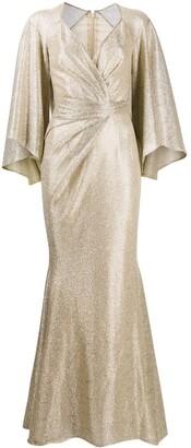 Talbot Runhof Draped Metallic Mermaid Dress