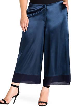 Standards & Practices Plus Size Chiffon Aline Crop Sateen Pants