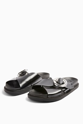 Topshop WIDE FIT PEDRO Black Footbed Sandals