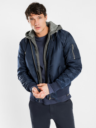 Article One Dante Hooded Bomber in Navy