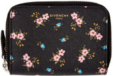 Givenchy Black Mini Zip Hibiscus Wallet