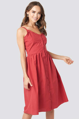 Milla Trendyol Button Detailed Midi Dress Red