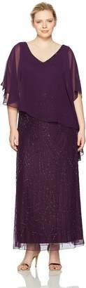 J Kara Women's Plus Size Pop Over Dress with Beaded Bottom