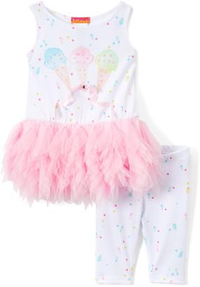 Kate Mack Girls' Leggings MULT1 - White & Pink Ice Cream Cone Tunic & Leggings Set - Infant & Toddler