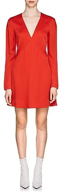 Givenchy Women's Crepe-Back Satin V-Neck Dress - Red