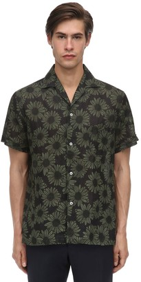 Lardini Floral Print Linen Bowling Shirt