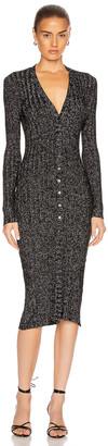 Enza Costa Lurex Rib Long Sleeve Cardigan Midi Dress in Black & Silver | FWRD