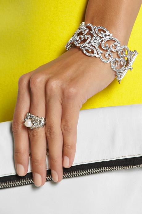Kenneth Jay Lane Rhodium-plated cubic zirconia bracelet