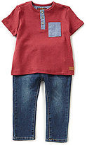 7 For All Mankind Baby Boys 12-24 Months Henley Short-Sleeve Tee & Jeans Set