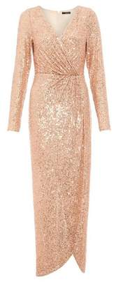 Dorothy Perkins Womens *Quiz Rose Gold Sequin Maxi Dress, Rose Gold
