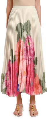 Valentino Floral-Print Pleated Midi Skirt