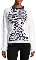 Kenzo Jacquard Tiger Stripe Sweatshirt, White