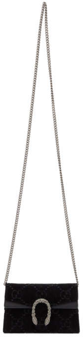 Gucci Black Velvet Supermini Dionysus GG Wallet Chain Bag