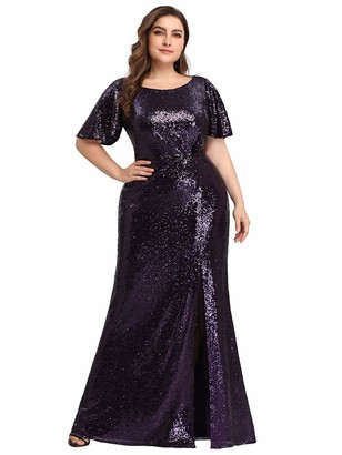 Ever Pretty Ever-Pretty Women's Flutter Short Sleeve Round Neck Floor Length with Thigh High Slit Sequin Long Plus Size Evening Gowns Dark Purple 20UK