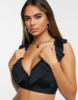 Pour Moi? Pour Moi Fuller Bust Space frill bikini top in black