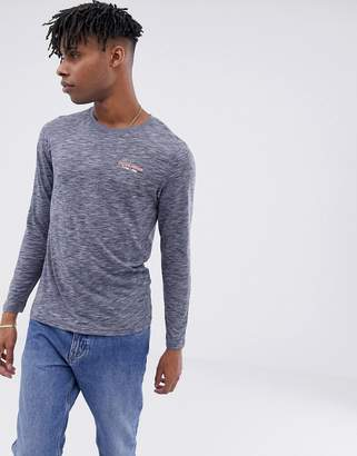 Jack and Jones Core long sleeve t-shirt with chest branding-Gray
