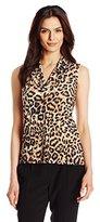 Anne Klein Women's Leopard Triple Pleat Neck Knit