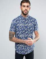Brave Soul Feather Print Short Sleeve Shirt