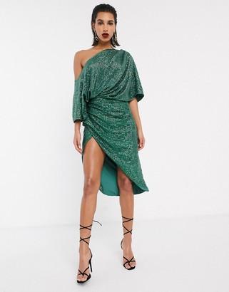ASOS EDITION drape asymmetric midi dress in sequin