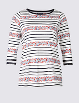 M&S Collection PLUS Pure Cotton Floral Print T-Shirt