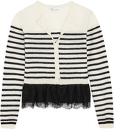 RED Valentino Lace-trimmed Wool Cardigan - Ecru