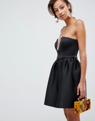 Asos DESIGN bandeau mini prom dress with gold bar detail