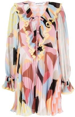 Self-Portrait Pastel Geo pleated mini dress