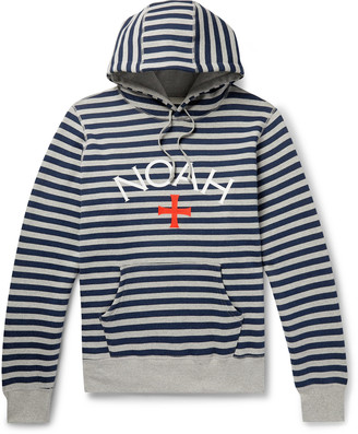 Noah Logo-Print Striped Fleece-Back Cotton-Jersey Hoodie