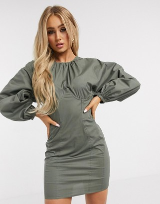ASOS DESIGN cotton poplin mini dress with corset waist and undercups in khaki