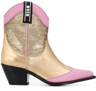 MSGM sequinned cowboy boots